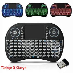 Türkçe Işıklı Mini Klavye Kablosuz Wireless Mouse Android Tv Box Usb Set Bilgisayar İpad Pc Fare