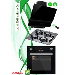 LUXELL SİYAH CAM ANKASTRE SET18-16