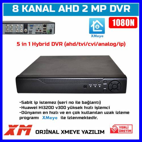 8 KANAL AHD DVR 1080N FULL HD 8 KANAL DVR Kayıt Cihazı-5 IN 1AHD-TVI-CVI-ANALOG-IP-1628-30D27 430110437