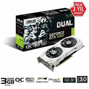 ASUS Dual GeForce GTX1060 GAMING OC 3GB 192Bit GDDR5