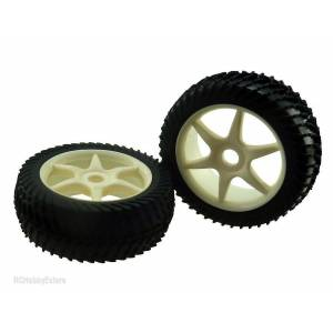HIMOTO 821003W White Rim-Tire Complete For Buggy (821001W