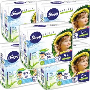 Sleepy Naturel Külot Bebek Bezi 5 Beden Junior Plus 13-20 kg 22 Li 5 Paket 110 Adet