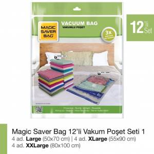 Magic Saver Bag 12 li Vakum Poşet Seti Vakumlu Hurç