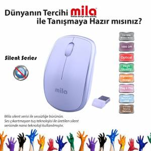 MILA Kablosuz Nano Optik 2.4GHz BeyazGümüş Mouse ML400
