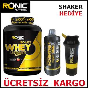 Ronic Nutrition isolate Whey 2270 Gr Protein Tozu Çilek Aromalı  L-Karnitine Ultimate 3400 mg 1 LT