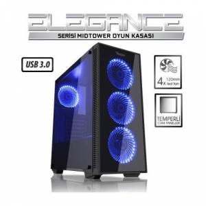 Power Boost Elegance Serisi Vk-G1007B 4X12Cm Mavi Led Fanlı Usb 3.0 Tempered Glass Oyuncu Kasa