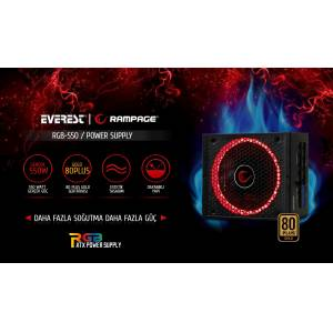 RAMPAGE 550W 12cm Fan 80Plus Gold RGB LED Full Moduler Güç Kaynağı RGB-550