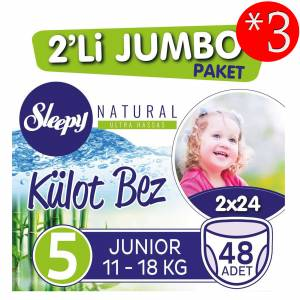 Sleepy Külot Bez 5 Beden-Numara 11-18 Kg Junior Naturel 48 Li 3 Paket 144 Adet