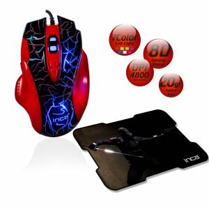 INCA IMG-319 8D 4800 DPI7 COLOR LED USB GAMING MOUSE  MOUSEPAD