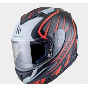 Mt Kask Mt Blade Alpha Gloss Black White Orange Güneş Vizörlü