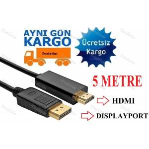 5 METRE DİSPLAYPORT TO HDMI 5108p DİSPLAY PORT HDMI ÇEVİRİCİ DÖNÜŞTÜRÜCÜ ADAPTOR TV LCD MONİTÖR