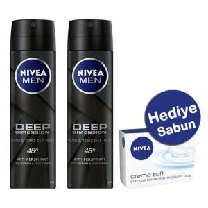 Nivea Men Deodorant Deep Dimension 2'li Paket + Sabun