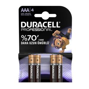 Duracell İnce Kalem Pil Professionel AAA 4'lü Paket