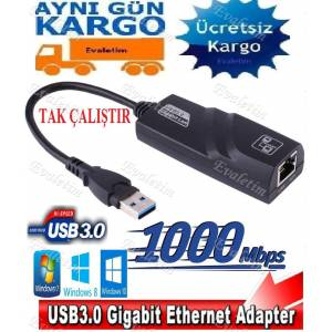 USB 3.0 To ETHERNET 4939p 1000Mbps Gigabit Ag Adaptoru LAPTOP PC BİLGİSAYAR NETWORK ADSL ÇEVİRİCİ
