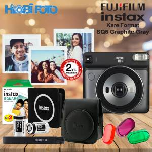instax SQ 6 Graphite Gray   Fotoğraf Makinesi Kit 20'Li Film Set