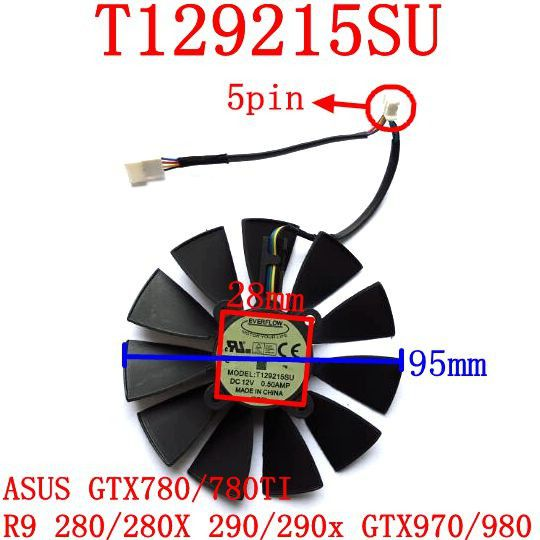 95mm Asus Ejderha GTX970-DC2T-4GD5 fan