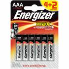 Energizer Alkaline Max AAA 4+2 İnce Kalem Pil