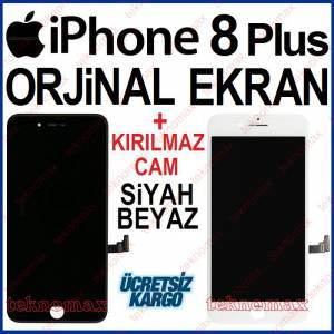 iPhone 8 Plus Ekran Dokunmatik Lcd Cam iPhone 8 Plus A1864 A1897 A1898 Ekran Ön Cam + Kırılmaz Cam