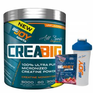 Big Joy Crea Big Micronized Creatine Powder 300 Gr + 2 Hediye + Shaker + BigWhey Protein Tozu