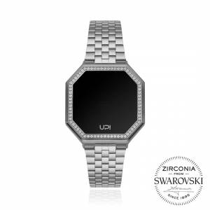 UP EDGE MINI 33MM SWAROVSKI ZIRCONIA SILVER