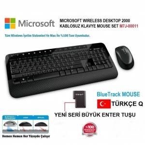 microsoft Wireless 2000 kablosuz kit Klavye Mouse set M7J-00011