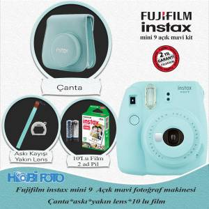 Fujifilm  instax Mini 9 Ekonomik Kit (AÇIK MAVİ) 10lu film Set