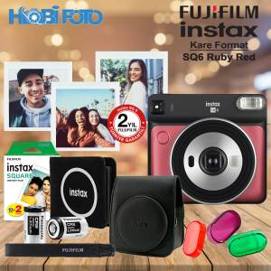 instax SQ 6 Ruby Red   Fotoğraf Makinesi Kit  20'Li Film Set