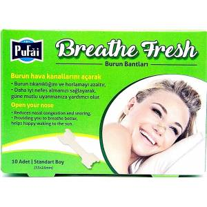 Pufai Breathe Fresh Burun Bandı Standart Boy 55 mm 16 mm 10 Adet 1 Kutu