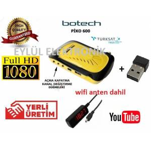 HD UYDU ALICISI BOTECH PİKO 600 HD WİFİ ANTEN Lİ 100 YERLİ ÜRETİM (YOUTUBE)