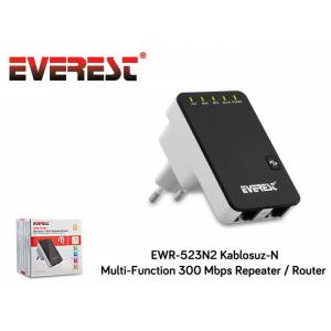 Repeater + Access Point + Router Everest EWR-523N2 Kablosuz-N Multi-Function 300 Mbps Siyah Client