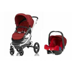 Britax Römer Affinity + Baby Safe Plus Shr 2 Travel Set Chili Pepper - White Şasi İle