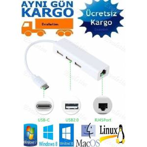 USB 3.1 TYPE C ÇOKLAYICI 3 PORT HUB 4693p ETHERNET RJ45 NETWORK İNTERNET CAT5 CAT6 ÇEVİRİCİ