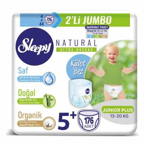 Sleepy Natural Külot Bez 5+Beden Junior Plus 4X2'Lİ Jumbo 176 Adet