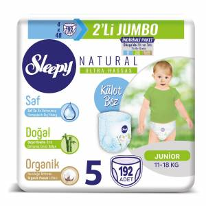 Sleepy Natural Külot Bez 5 Beden Junior 4X2'Lİ Jumbo 192 Adet