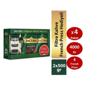 Jacobs Monarch Aromalı Filtre Kahve 2x500 gr French Press Hediye 4lü SET
