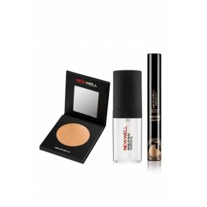 Newwell Highlighter Porcelain Pudra No:12 + Makyaj Bazı 30 ml + Waterproof Black Maskara 7 gr