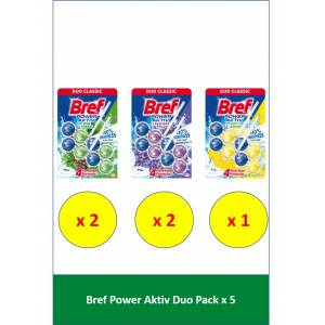 Bref Power Aktif Duopack 2 Çam - 2 Lavanta - 1 Limon 5'li Set