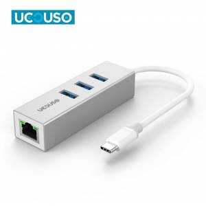 Ucouso Usb-c to Ethernet 3XUsb3.0 Typ-c Hub MacBook A1534 A1706 A1708 A1707 A1989 A1990  Gri