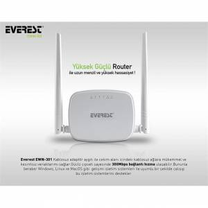 Everest EWR-301 Kablosuz-N WPS + WISP+WDS 300 Mbps Repeater+Acces