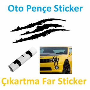 Oto Monster Sticker Pençe Araba Çıkartma Far Sticker