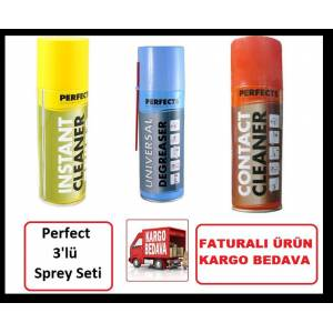 Perfect Kontak Sprey Seti ( instant + Degreaser + Contact Cleaner ) YAĞLI + YAĞSIZ + KÖPÜK FATURALI