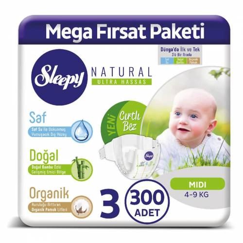 Sleepy Natural 3 Beden 300 Adet