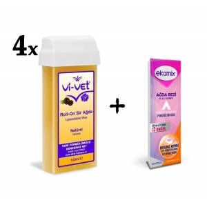 Vivet Kartuş Roll-on Naturel Ağda 100 ml 4 adet+ Ağda bezi 2mt