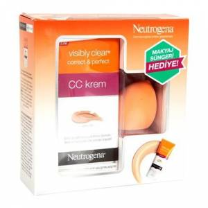 Neutrogena Visibly Clear Correct & Perfect Cc Krem Orta Ton 50ml + Sponge