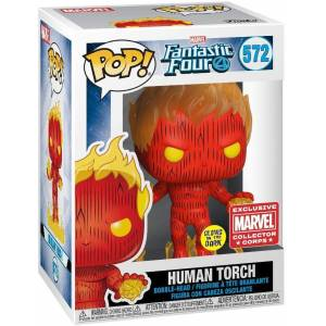 Funko Pop Marvel Fantastic Four Human Torch Fosforlu Exclusive Figür