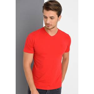 T8537 DEWBERRY T-SHIRT-KIRMIZI