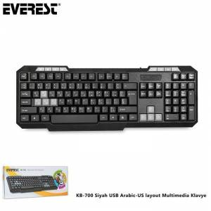 Everest KB-700 Siyah USB Q Arabic-US Layout (Arapça) Multimedia Kablolu Klavye