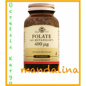 Solgar Folate (As Metafolin) 400mcg 50 Tablet SKT:10/2022