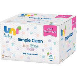 Uni Baby Simple Clean Islak Havlu 72 Yaprak 24'lü Set