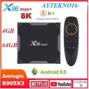 X96 MAX PLUS Android 9.0 TV BOX NETFLIX 4GB 64GB amlogic S905X3 8K G10 Air Sesli Kumanda çift Wifi
